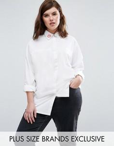 Рубашка с принтом Поцелуй Daisy Street Plus - Белый