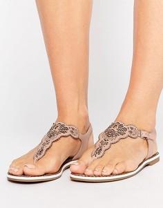 Телесные сандалии с вырезным узором Dune Lill - Бежевый