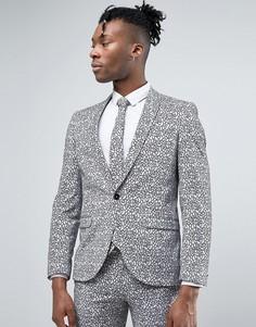 Супероблегающий пиджак с цветочной набивкой флок Noose & Monkey - Серый