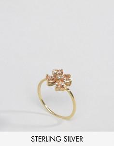 Позолоченное серебряное кольцо с цветком ASOS - Золотой