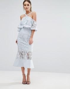 Платье миди с лифом-бандо и ассиметричным краем Jarlo - Синий