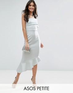 Платье миди на одно плечо с оборкой на подоле ASOS PETITE - Синий