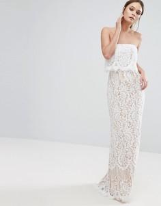 Кружевное платье-бандо макси с юбкой-годе Jarlo - Кремовый
