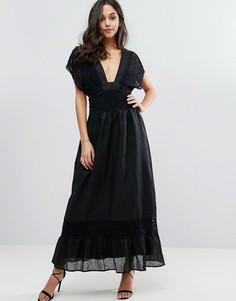 Платье макси с кружевными вставками Stevie May Plateau - Черный