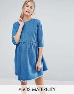 Свободное платье из выбеленного денима ASOS MATERNITY - Синий