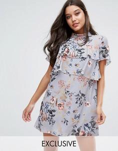 Платье с цветочным принтом и оборками эксклюзивно для Missguided - Мульти