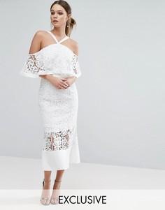 Платье миди с лифом-бандо и ассиметричным краем Jarlo - Кремовый