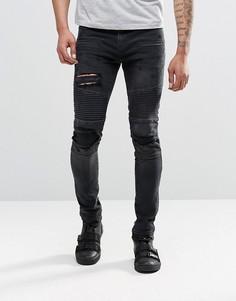 Байкерские супероблегающие джинсы с прорехами ASOS - Черный