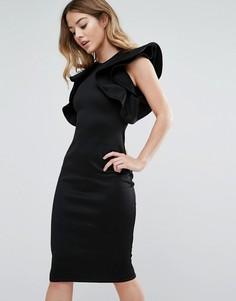 Платье миди с рюшами на рукавах Club L - Черный