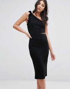 Платье миди на одно плечо с рюшами Oh My Love - Черный
