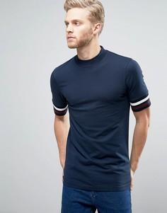 Длинная обтягивающая темно-синяя футболка с высоким воротом ASOS - Темно-синий