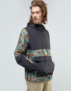 Куртка с капюшоном через голову с камуфляжным принтом Element Alder - Зеленый