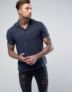 Рубашка с короткими рукавами из шелковистой ткани Religion - Темно-синий