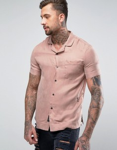 Рубашка с короткими рукавами из шелковистой ткани Religion - Розовый