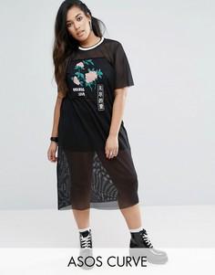 Сетчатое платье-футболка с японскими цветами ASOS CURVE - Мульти