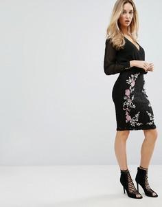Кружевная юбка-карандаш с вышивкой Lipsy - Черный