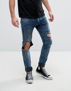 Эластичные супероблегающие джинсы с рваными коленями Religion - Синий