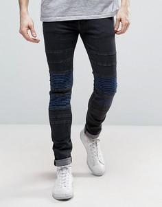 Узкие эластичные джинсы с нашивками Religion - Черный
