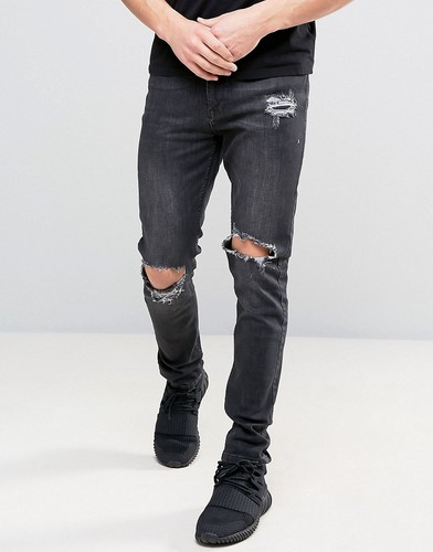 Черные джинсы скинни с рваной отделкой на коленях Kubban - Черный