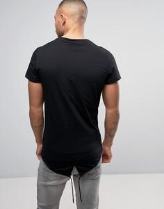 Удлиненная футболка с затягивающимся шнурком Religion - Черный