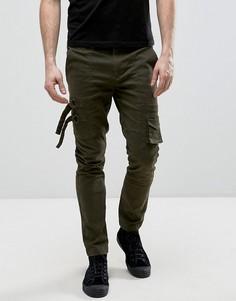 Зауженные брюки с карманами цвета хаки ASOS - Зеленый