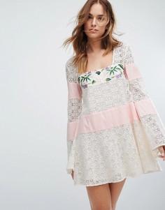 Кружевное платье с вышивкой Majorelle - Белый