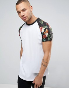 Удлиненная футболка с цветочным принтом на рукавах реглан ASOS - Белый