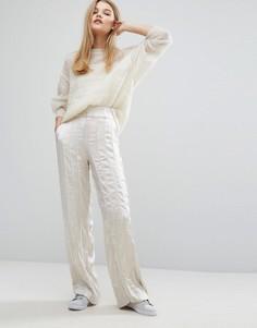 Широкие атласные брюки Gestuz Tessa - Кремовый