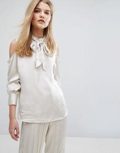 Атласная блузка Gestuz Tessa - Кремовый