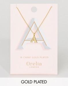 Позолоченное ожерелье с подвеской в виде буквы А Orelia - Золотой