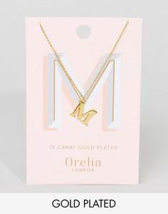 Позолоченное ожерелье с подвеской в виде буквы M Orelia - Золотой