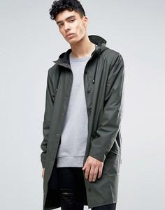 Зеленая длинная водонепроницаемая куртка с капюшоном Rains - Зеленый