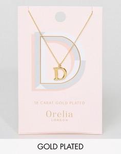 Позолоченное ожерелье с буквой D Orelia - Золотой