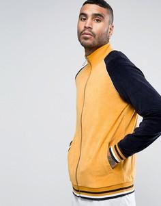 Велюровая трикотажная куртка с контрастными рукавами ASOS - Желтый