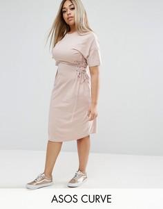 Платье-футболка с отделкой в стиле корсета ASOS CURVE - Бежевый