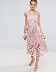 Кружевное платье с волнистым краем Bodyfrock - Розовый