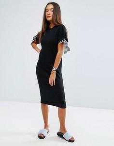 Вязаное платье миди с завязками в клеточку ASOS - Черный