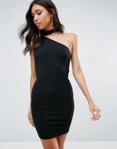 Платье мини на одно плечо Oh My Love - Черный