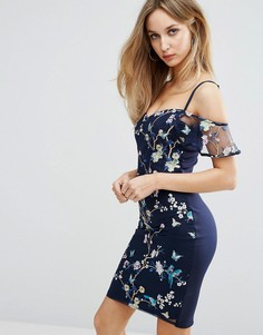 Платье с открытыми плечами и вышивкой Lipsy - Мульти