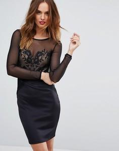 Сетчатое облегающее платье с длинными рукавами и вышивкой Lipsy - Черный
