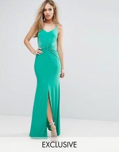 Платье макси на бретельках с узлом спереди Club L - Зеленый