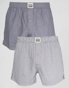 Набор из 2 серых тканых боксеров (шамбре, в полоску) Levis - Серый Levis®