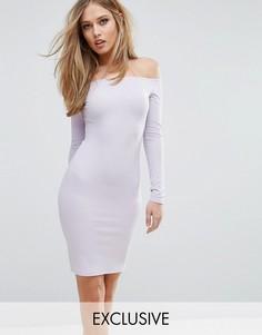 Платье миди в рубчик с открытыми плечами Club L - Фиолетовый