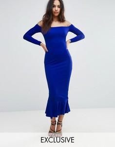 Платье миди с открытыми плечами и баской Club L - Синий