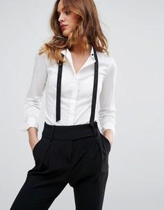 Рубашка с контрастным галстуком Sisley - Белый