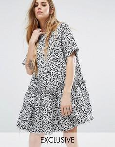 Платье с леопардовой юбкой и присборенной юбкой Reclaimed Vintage - Белый