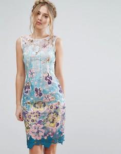 Кружевное платье миди с цветочным принтом Paper Dolls - Мульти