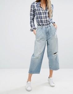 Широкие укороченные джинсы с дырками Only - Синий
