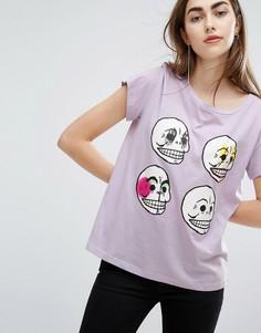Футболка с черепами Cheap Monday - Фиолетовый
