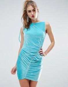 Бархатное платье мини со сборкой ASOS - Синий